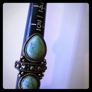 Ornate Adjustable Turquoise Ring Fits Sizes 6-10